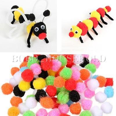 100pcs 8mm DIY Crafts Mixed Colourful Mini Fluffy Pom poms Ball Felt Decoration