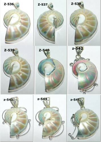 Nautilus Shell Natural Loose Gemstone 925 Solid Sterling Silver Pendant Jewelry