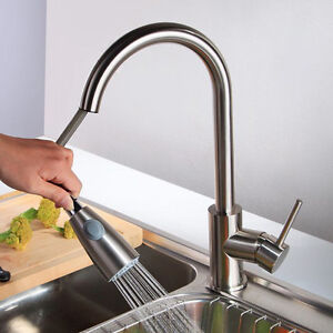 Image Is Loading Brushed Nickel Kitchen Sink Faucet Pull Out Sprayer