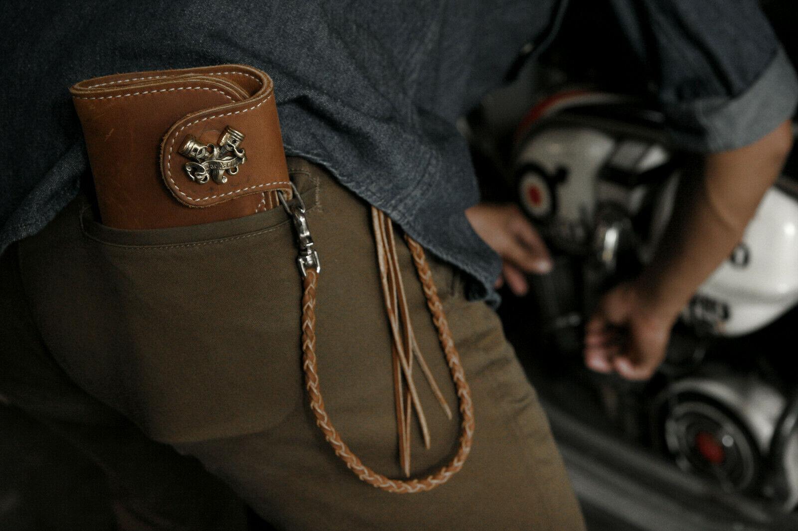 piston cross Biker long Wallet chain ring Genuine Leather skull cafe Racer men