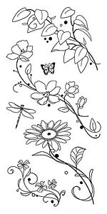 Inkadinkado-Clear-Stamps-Beauty-Stems-Flowers-Dragonfly-Butterfly-Leaves