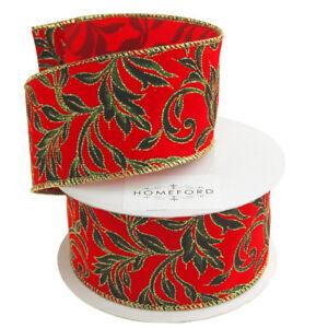 Luxury Wire Edged Ribbon HOLLY /& BERRIES FLOCK Velvet Green Sateen Christmas