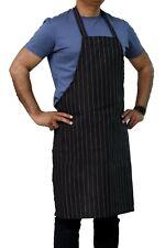 Black Pin Stripe Full Length Bib Apron With Two Pockets 34 X 32