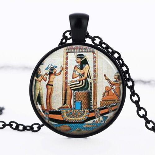 Égyptien Noir Dôme Verre Cabochon Chaîne Collier Sautoir Pendentif #172
