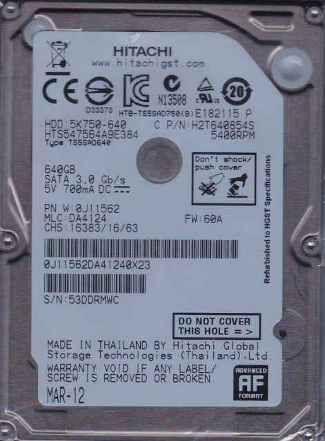 Hts547564a9e384 MLC: Da4124 P/n:0j11562 Hitachi 640gb Sata B24-1