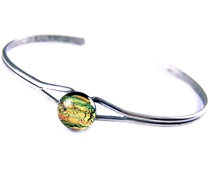 Dichroic-GLASS-Cuff-Bracelet-ADJUSTABLE-Gold-Copper-Striped-Fused-Tiny-1-4-034-8mm