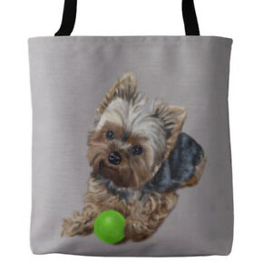Yorkshire-Terrier-Yorkie-with-Ball-Art-Tote-in-Several-Sizes-FREE-Personalizati