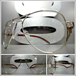 e6c0492c7d1 CLASSIC VINTAGE Style Clear Lens EYE GLASSES Silver   Wood Wooden ...
