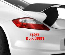 I Love Boobies coche divertido Arte Novedad parachoques Ventana Vinilo Decal Sticker Drift