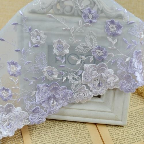 """2 Yards Lace Trim Exquisite Purple Tulle Big Floral Embroidered 8.66/"""" Wide"""