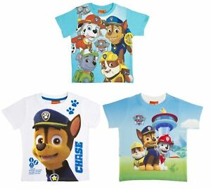 64546cdc Boys Paw Patrol Short Sleeved T Shirt Chase Marshall Character Top ...
