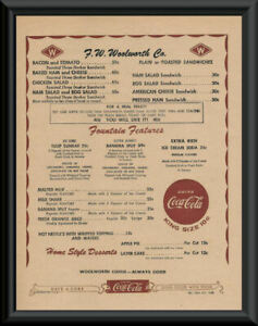 Details about 1950s Woolworth Lunch Counter Menu Reprint On 60 Year Old  Paper *P189
