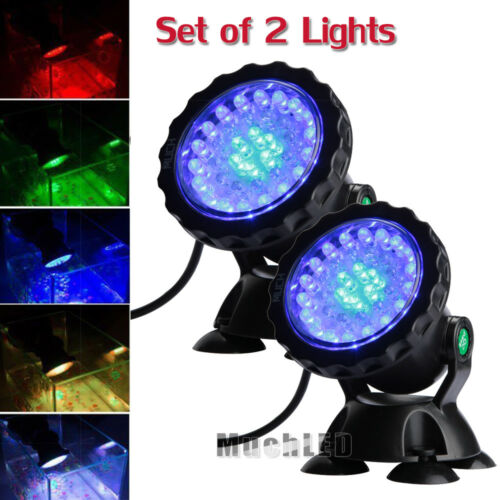 Lot 4 Submersible 36 LED RGB Pond Spot Lights for Underwater Pool Fountain IP68