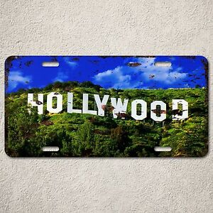 LP0042-Hollywood-Rust-Vintage-Auto-Car-License-Plate-Home-Decor-Sign