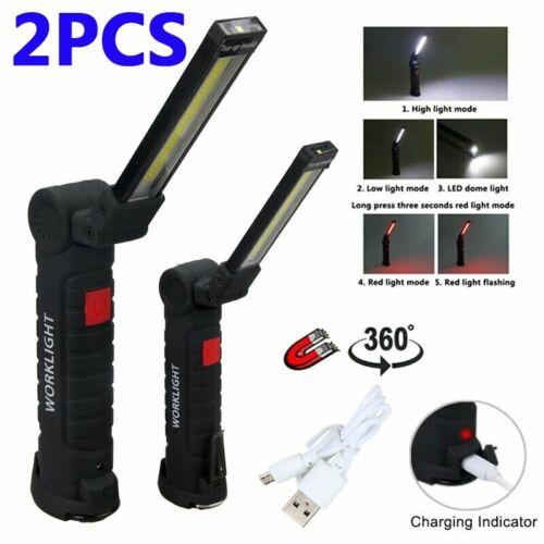 Portable COB LED Work Light Car Garage Mechanic USB Rechargeable Torch Lamp