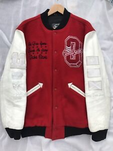 XL-DRAKE-OVO-XO-ROOTS-2011-RED-WHITE-BISON-LEATHER-WOOL-VARSITY-JACKET-1-10-MADE