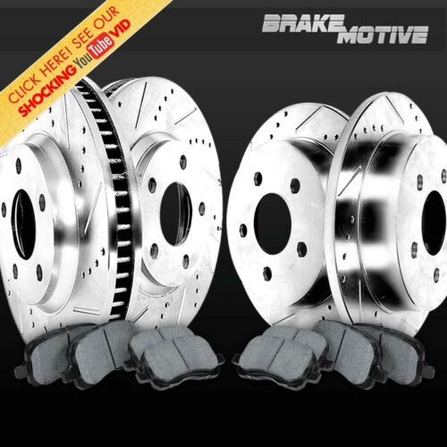 FRONT+REAR 4 Drill Slot BRAKE ROTORS AND 8 METALLIC Pads For M70045