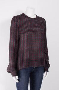ALC Red Navy Blue Plaid Check Print Silk Long Sleeve Blouse Top Dress Shirt S