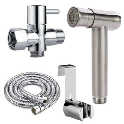 Shattaf Bidet Toilet Sprayer Kit Bathroom Toilet 2 Settings Brass T-Adapter Hose
