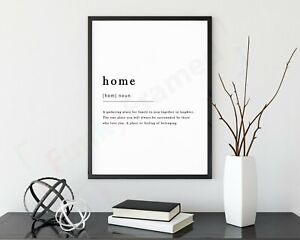 Home-Definition-Noun-Print-Framed-Typography-Poster-Black-White-WordArt-Picture