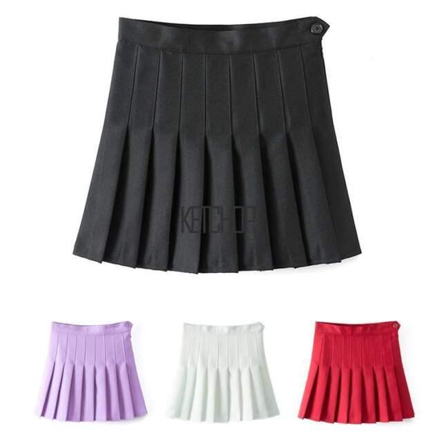 Womens Thin High Waist Pleated Skirt Skater Flared Tennis Skirts Mini Dress