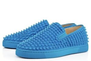 official photos c80eb e6651 Details about BRAND NEW CHRISTIAN LOUBOUTIN SNEAKERS SPIKES BLUE SUEDE SIZE  43.5 US 10.5
