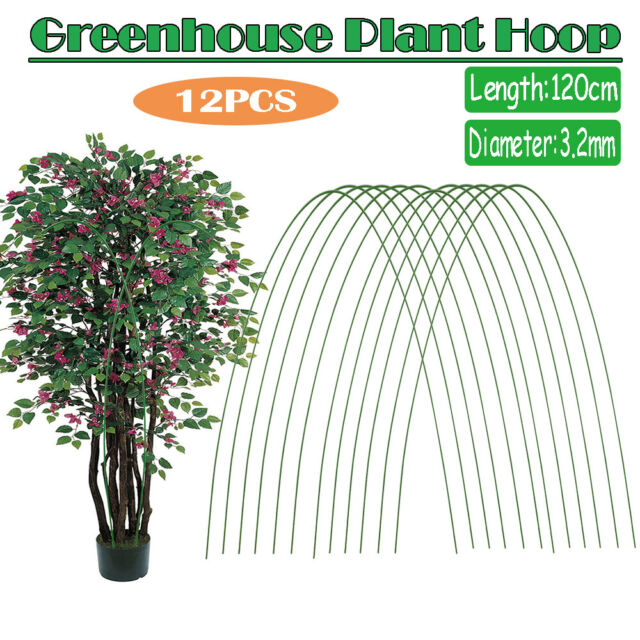 12Pcs Greenhouse Plant Hoops Stakes Grow Garden Tunnel Support Hoop Plant Holder