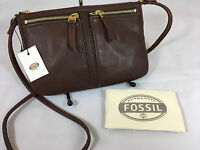 Fossil Erin Small Top Zip Leather Crossbody Bag/purse In Expresso