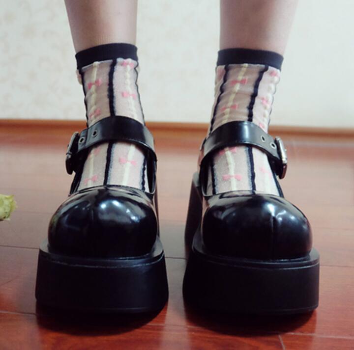 Black New Pumps Women shoes Platform Creeper Lolita Wedge Heel Buckle Mary Jane