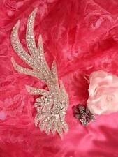 DH28 Crystal Rhinestone Neckline Collar Applique Silver Beaded Bridal Sash Patch