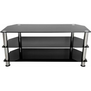 Modern Tv Stand Black Glass Chrome Legs Up To 55 Flat Panel