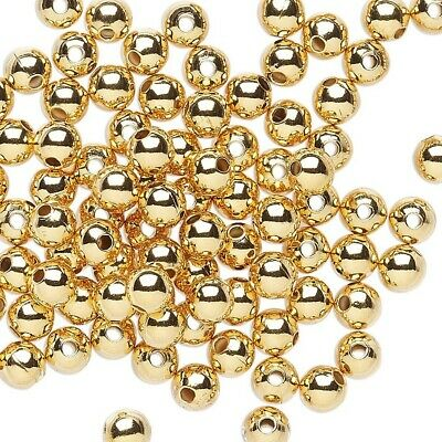 100 Gold 14K Plated Plated Brass 4mm Smooth Oval Spacer Beads Bulk Lot