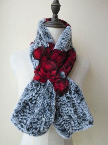 Livraison gratuite réel Rex fourrure de lapin tricoté trois fleur écharpe Gris avec rouge