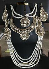 Mughal Style Polki Kundan Pearl Indian Jewelry Set Include Matha Patti.