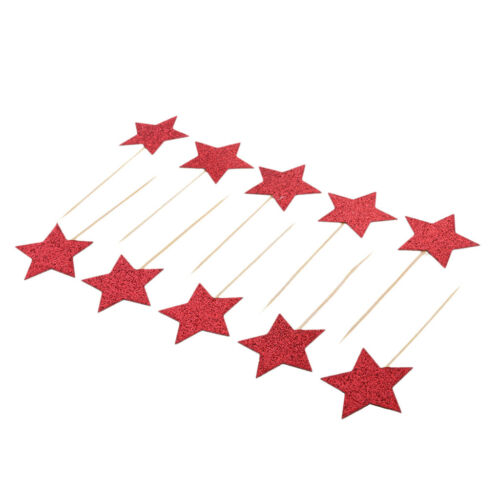 10Pcs Kids Birthday Cupcake Toppers Glitter Star Party Decor Baby Shower Red
