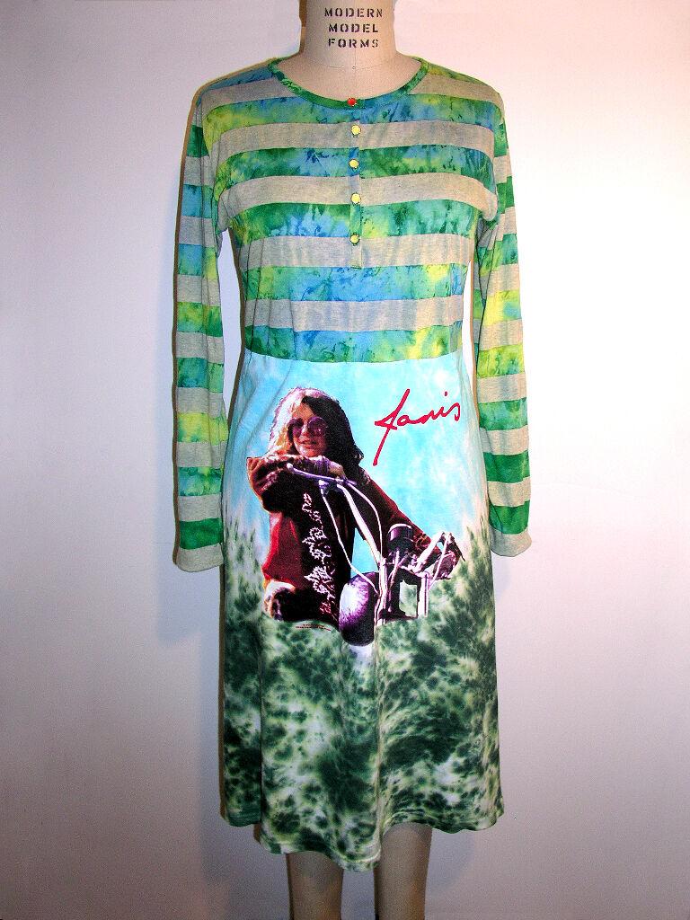 Janis Joplin Crew Hippie Tie Dye Long Sleeve Dress Dress Dress - Made In USA - XS, S, M, L. a30b19