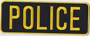 POLICE  Back Patch (gold on black)  - NEW - 11 x 4