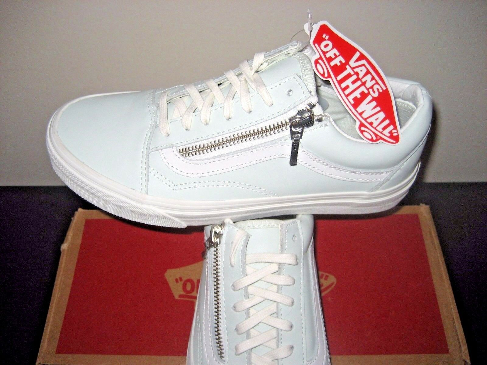 Vans Womens Old Skool Zip Leather Zephyr bluee white De white shoes Size 10 NWT