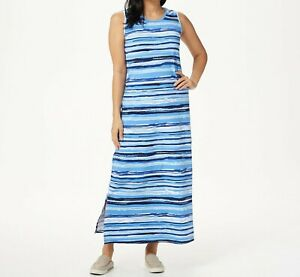 A352822-Denim-amp-Co-Printed-Perfect-Jersey-Maxi-Dress-w-Side-Slits-NAVY-S-243