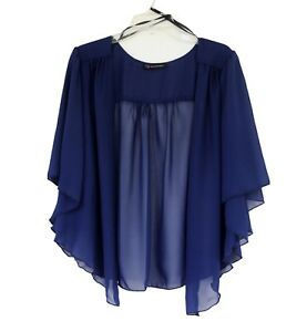 Womens Navy BLUE Plus Size 3X Chiffon Cardigan Bolero Shrug Top | eBay