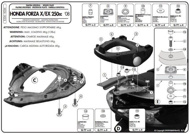 E226 GIVI Ataque Bauletto Monokey Para Honda Fuerza 250 Ex 2011 2012