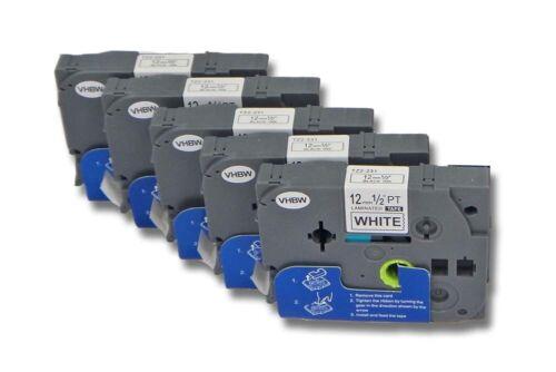 5x  Schriftband Tape 12mm für BROTHER P-Touch D400,D400VP