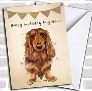 Image Is Loading Vintage Burlap Bunting Dog Long Haired Dachshund Personalized