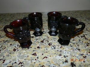 AVON-1876-CAPE-COD-RUBY-RED-SET-OF-4-PEDESTAL-IRISH-COFFEE-MUGS