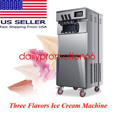 New Listing20lh Commercial 3 Flavors Soft Ice Cream Machine Stainless Steel Automatic 110v