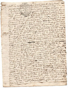 1735 King Louis XIV royal notary signed manuscript document STAMPED ORIGINAL