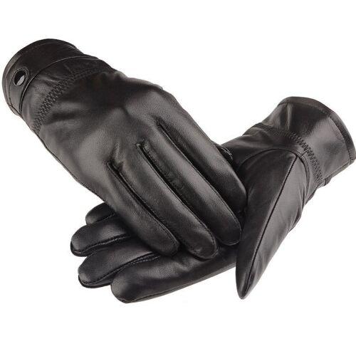 Men/'s Autum Lambskin Mittens Driving Full Finger Winter Genuine Leather Gloves A