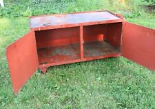 New Listingvintage Industrial Metal Cabinet Cherry Red Parts Tools Rolling Chest