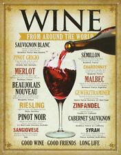 Wine Around The World Tin Sign 13 X 16in Shomhnk004