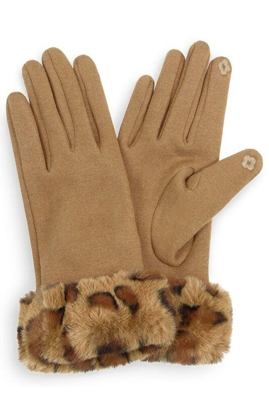 Jinscloset Warm Cozy Trendy Leopard Faux Fur Wrist Smart Touch Tips Gloves